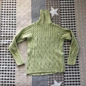 Wainscott green knit turtleneck sweater